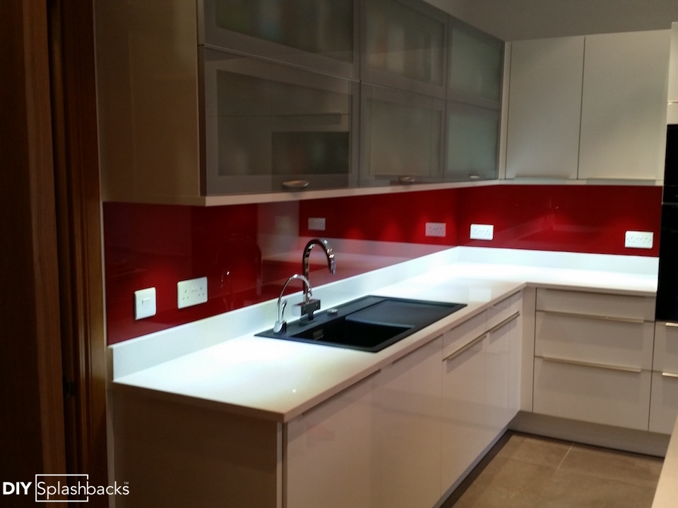 Fitted glass splashbacks for Red fitted kitchen