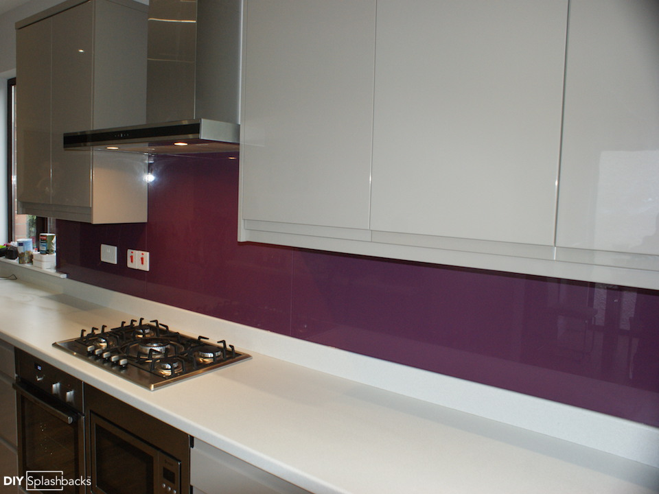 Pink And Purple Glass Splashbacks
