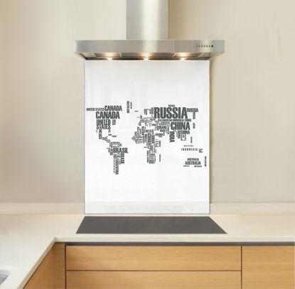 Picture of White World Map Splashback