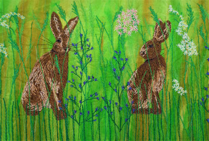 Picture of Hare in grass meadow embroidery art print Glass Kitchen Splashback