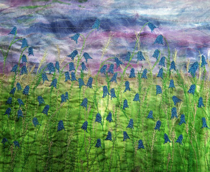 Picture of Bluebells embroidery art print Glass Kitchen Splashback