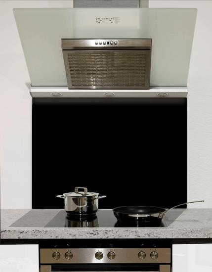 Jet Black Glass Kitchen Splashback