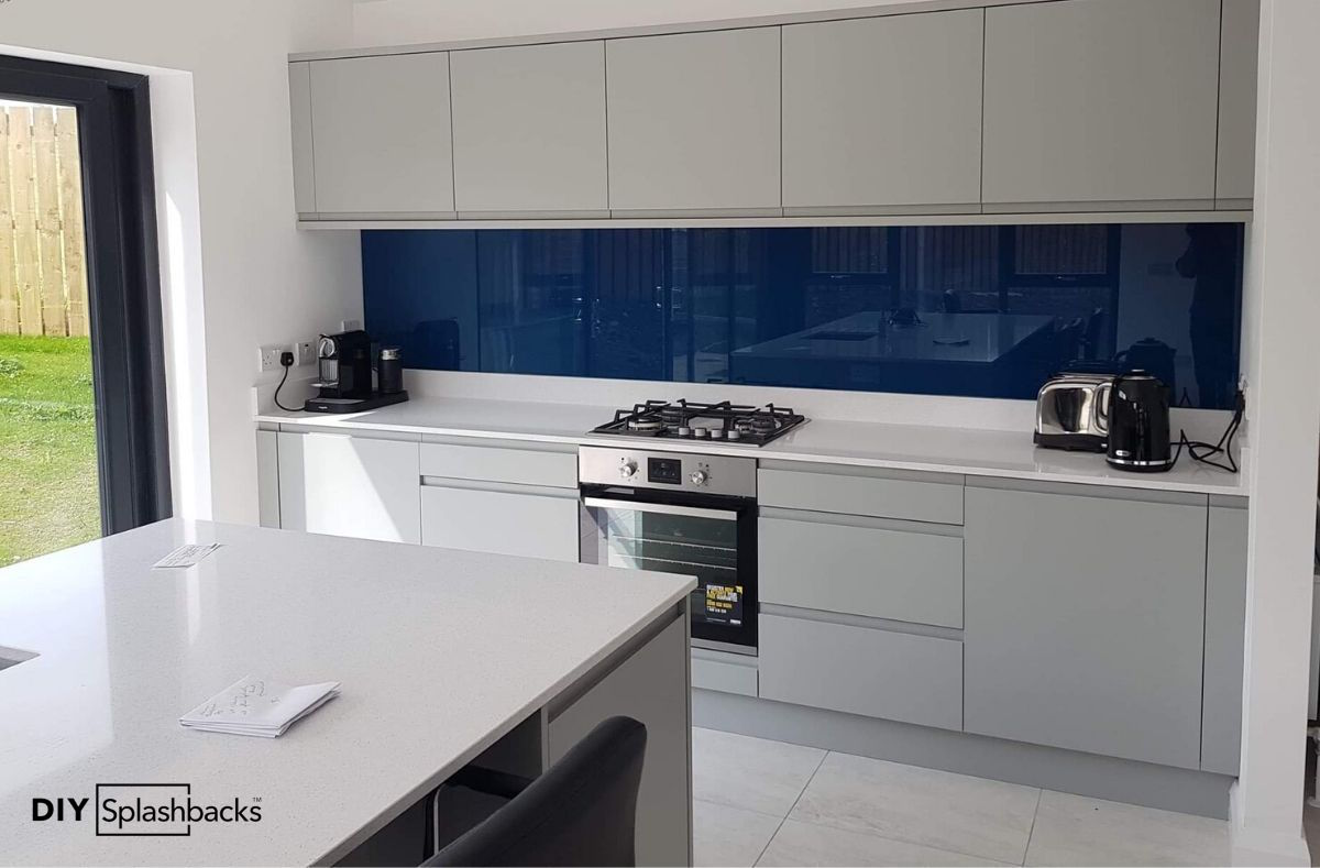 Blue Glass Splashback by DIY Splashbacks