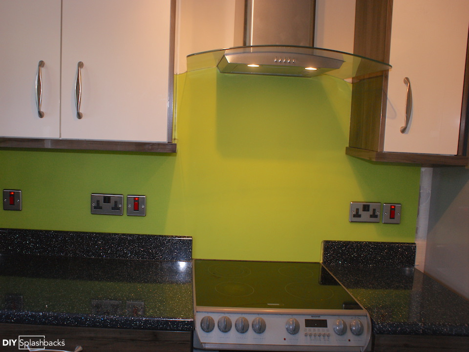 Luscious Lime Glass Splashback Brushed
