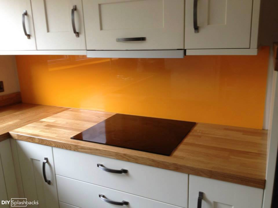 White Kitchen Orange Splashback orange and yellow glass splashbacks.