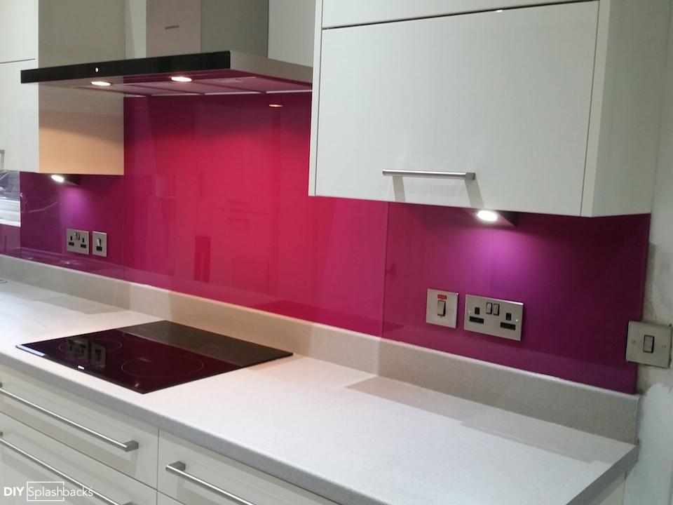 Pink And Purple Glass Splashbacks
