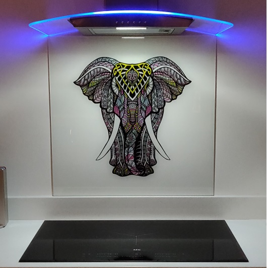 Elephant mandala Glass Splashback