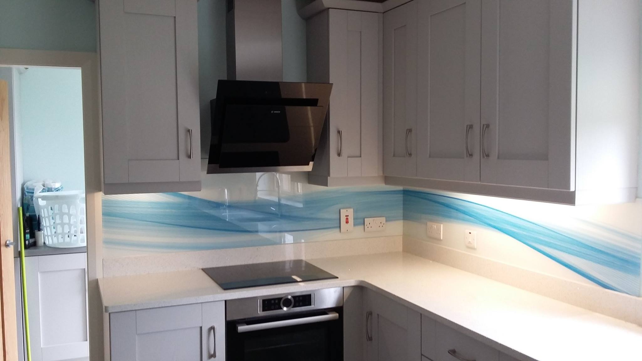 Blue Wave Glass Splashback