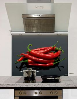 Picture of Chillis on black Splashback
