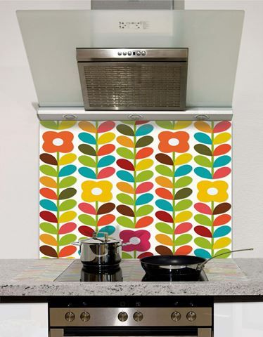 Picture of Retro Flowers and Leaves Splashback