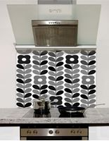 Picture of Retro Flowers and Leaves Greyscale Splashback