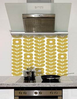 Picture of Retro Flowers and Leaves Orchre Splashback