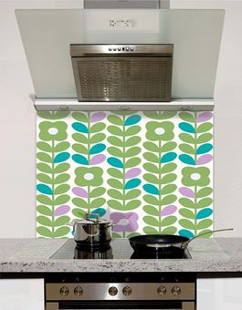 Picture of Retro Flowers and Leaves Pastels Splashback