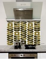 Picture of Retro Flowers and Leaves taupe brown Splashback