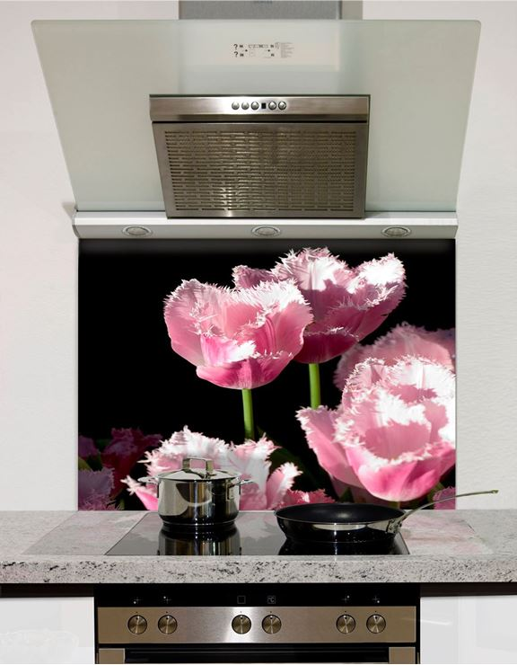 Picture of Pink Tulips Black Splashback