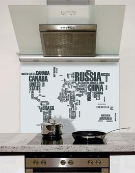 Picture of World map Grey Splashback