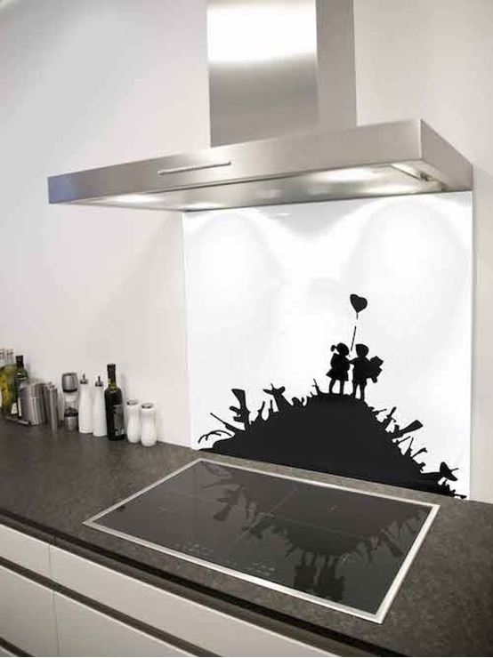 Picture of Banksy kids on guns Splashback