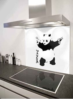 Picture of Banksy panda with guns Splashback