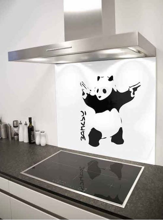 Picture of Banksy panda with guns Splashback