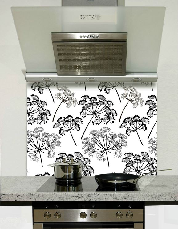 Picture of Black and white florals 001 Splashback