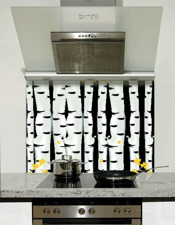 Picture of Black and white forest with a splash of colour Splashback