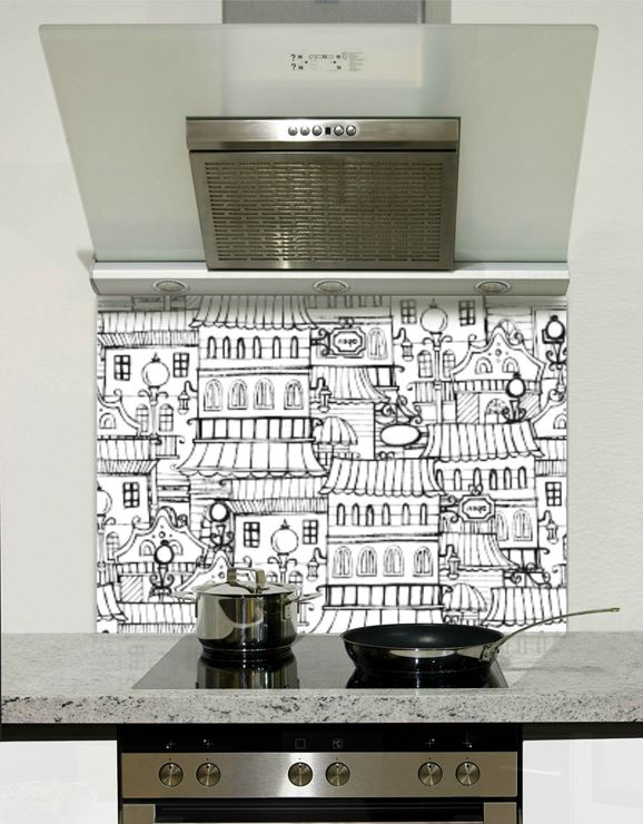 Picture of Black and white town 001 Splashback