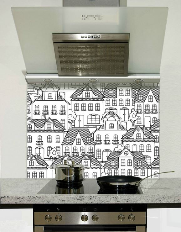 Picture of Black and white town 003 Splashback