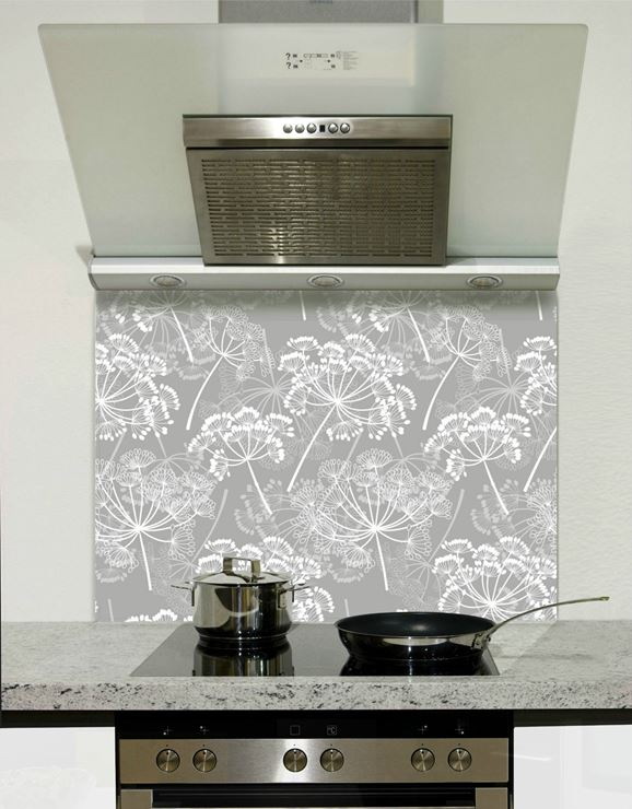Picture of Grey and white florals 001 Splashback
