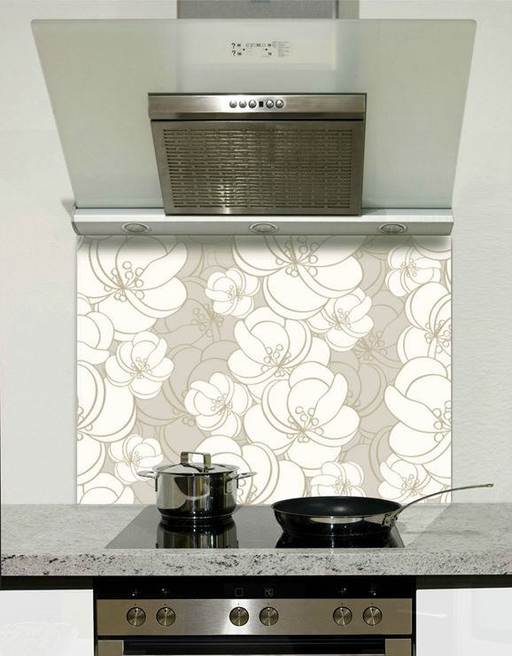 Picture of Grey and white florals 002 Splashback