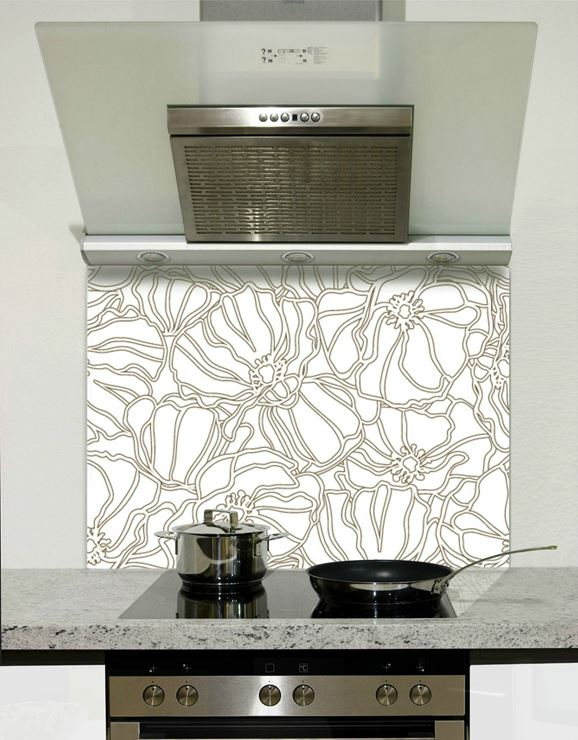 Picture of Grey and white florals 003 Splashback