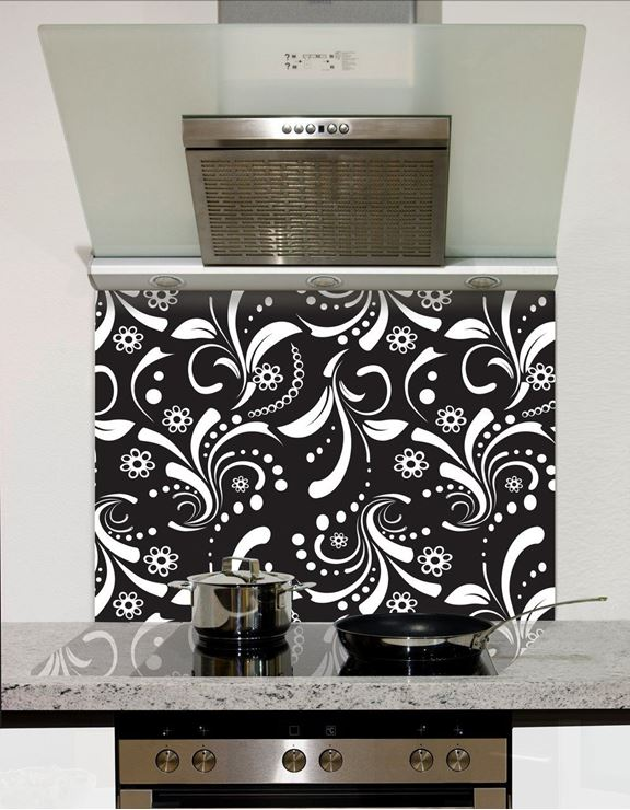 Picture of Black and white leaf pattern Splashback