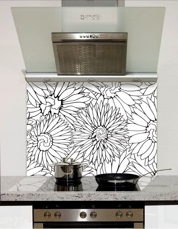 Picture of Black floral edge 001 Splashback