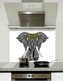 Picture of Indian Elephant Mandala Glass Splashback