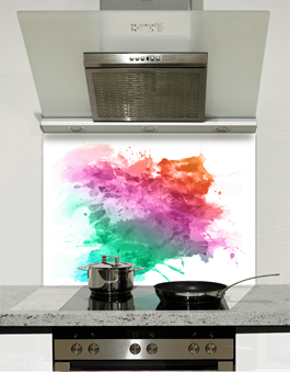 Picture of Watercolour Rainbow Splatter Glass Splashback