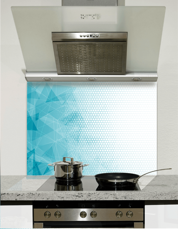 Picture of Blue and White Polygons Glass Splashback