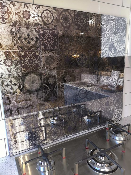 Picture of Standard Size Moroccan Tiles Antique Mirror Splashback