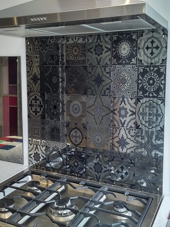 Moroccan Tiles Antique Mirror Glass Splashback