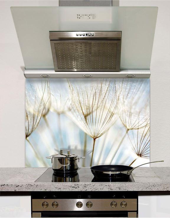 Picture of Blue Dandelion Wish Glass Splashback (standard size)