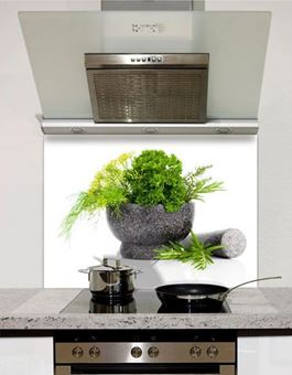 Picture of Grey Pestle and Mortar Glass Splashback (standard size)