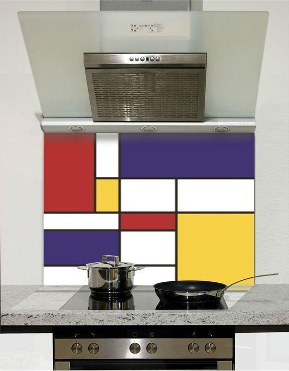 Picture of Mondrian Squares Glass Splashback (standard size)