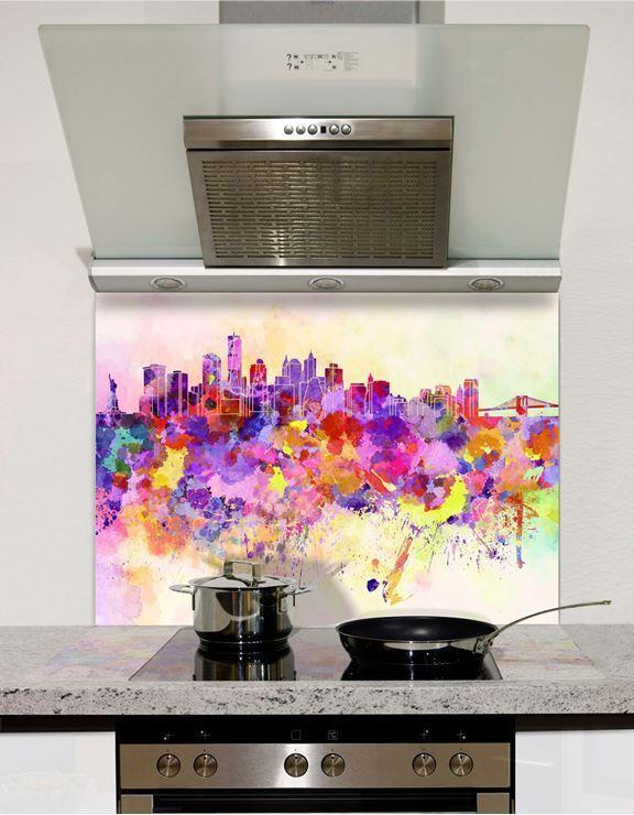 Picture of New York Watercolour Glass Splashback (standard size)