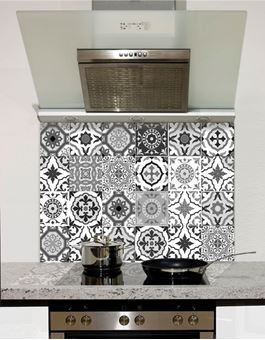 Picture of Black and White Moroccan Tiles Glass Splashback (standard size)