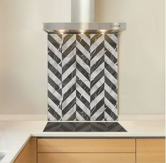 Picture of Black Marble Chevron Splashback