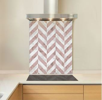 Picture of Pink Marble Chevron Splashback