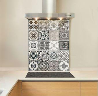 Picture of Monochrome Encaustic Tile Splashback