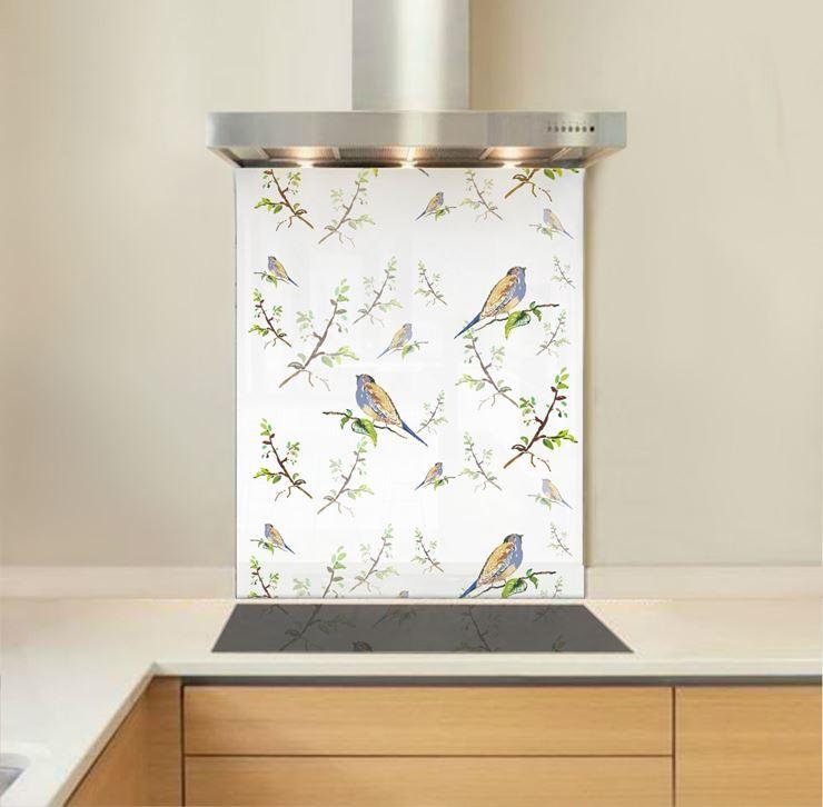 Picture of Silk Bird Wallpaper Splashback