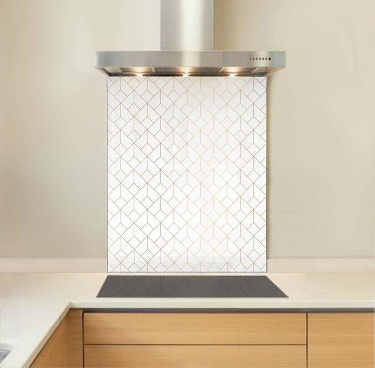 Picture of Gold Polygons Glass Splashback