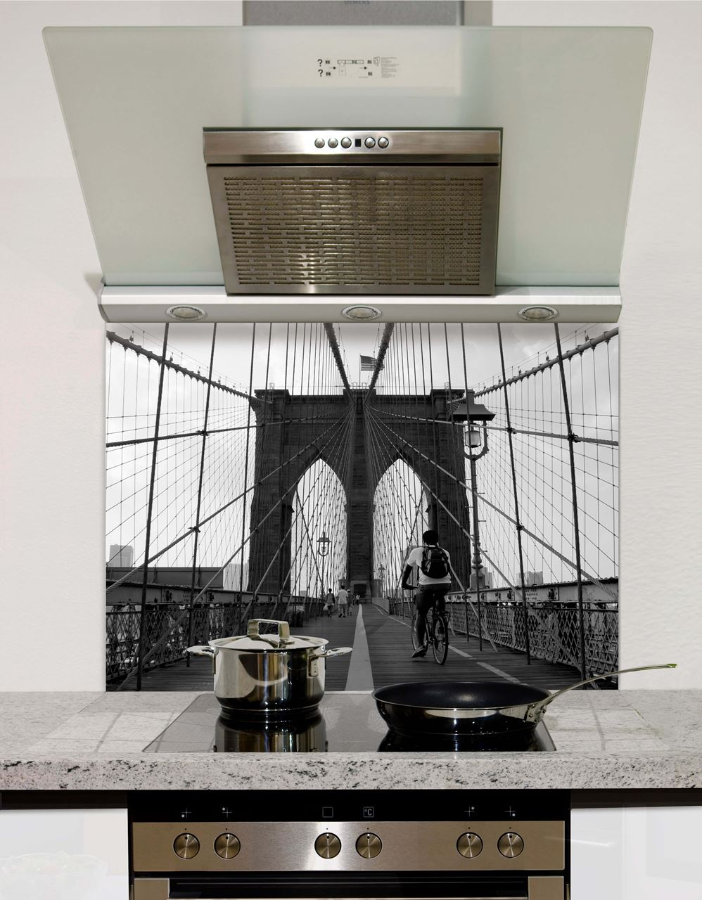 Brooklyn Bridge Greyscale Glass Splashback