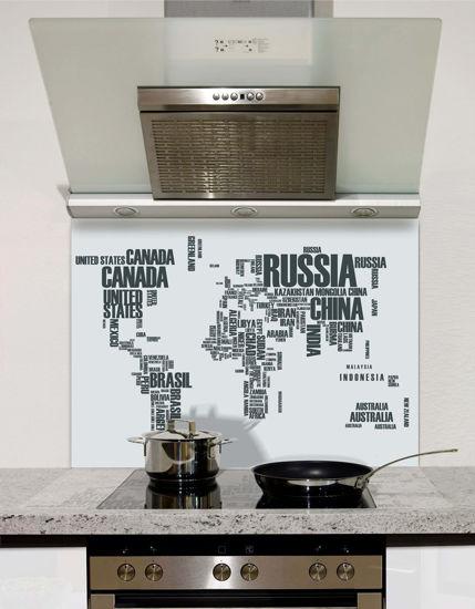 Picture of World map Grey Splashback