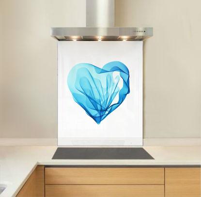Picture of Blue Silk Heart Splashback